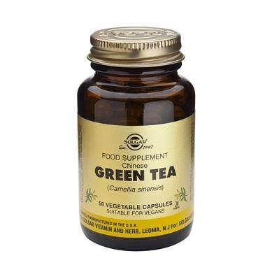 Описание на Зелен Чай 125 мг х50 капсули - SOLGAR:     Продуктът на американския производител СОЛГАР представлява хранителна добавка, съдържаща Green tea - китайски зелен чай. Растението има антиоксидантни и леки противовъзпалителни свойства. Приемът му повишава метаболизма и изгарянето на мазнини. Формулата съдържа и джинджифил на прах, който подобрява храносмилането, намалява подуването на стомаха и редуцира образуването на газове. Фитокапсулите са подходящи за вегетарианци. Продуктът не съдържа захар, сол, изкуствени подобрители. Преди употреба от бременни, кърмачки и хора, приемащи други лекарства, се препоръчва консултация с лекар.    СъставнаЗелен Чай 125 мг х50 капсули - SOLGAR:             1 капсула съдържа:    Стандартизиран екстракт от листа на Зелен чай 125mg   Листа от Зелен чай на прах 395mg   Корен от джинджифил на прах 15mg