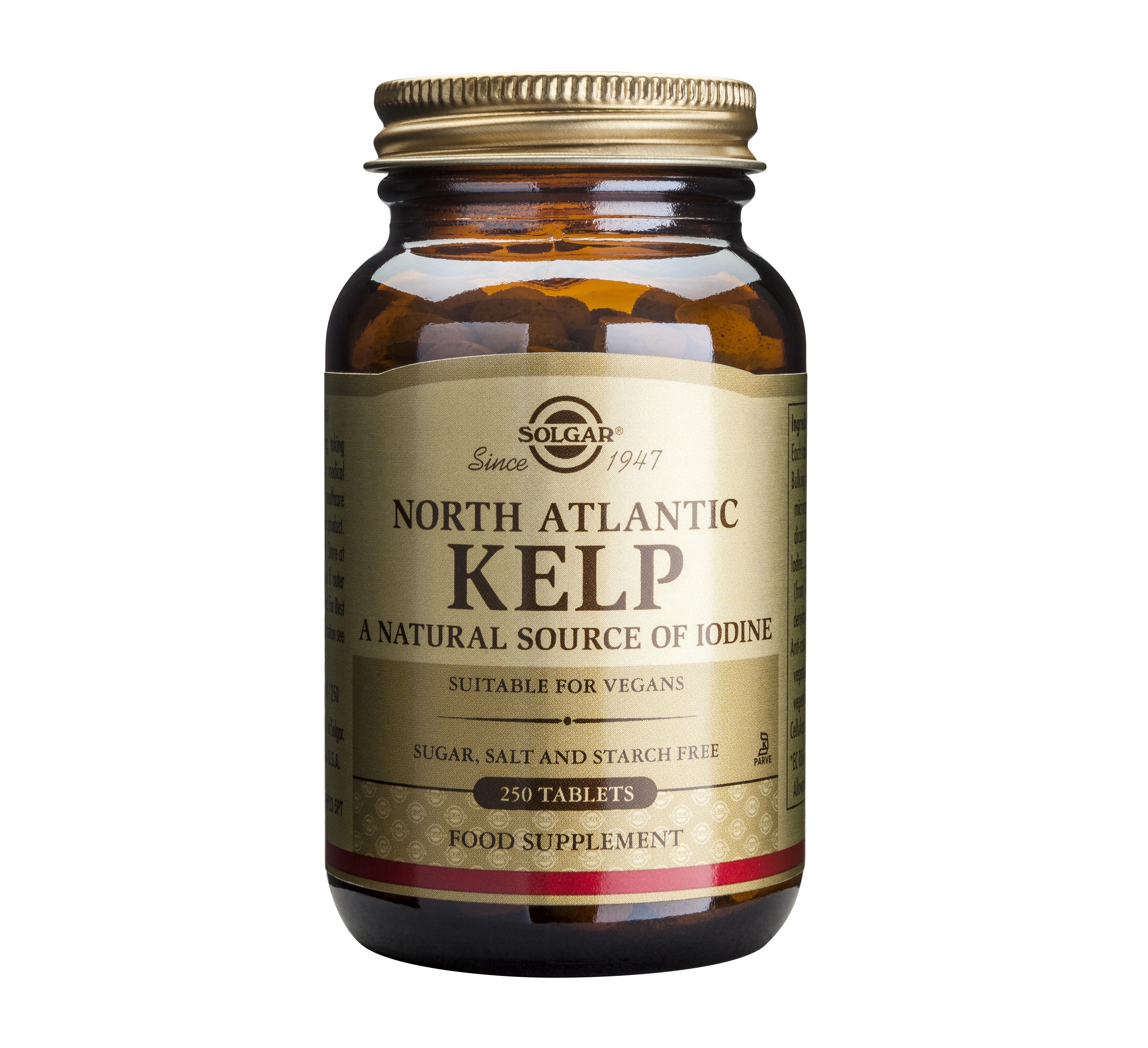 Описание наКелп / Kelp 200 μg х250 таблетки - SOLGAR:     Tова е продукт на американския производител SOLGAR, който представлява хранителна добавка с водорасли от северната част на Атлантическия океан (Ascophyllum nodosum mackaii), които са естествен източник на органичен йод с високо съдържание, който е необходим за правилното функциониране на щитовидната жлеза и еглавния регулатор на метаболизма. Келпът съдържа и други микроелементи, които допринасят за доброто състояние на косата, кожата, ноктите, както и накостите и мускулите. Освен това, той се използва и за отстраняване на някои токсични метали от организма, като помага в случай на понижена функция на щитовидната жлеза поради недостиг на йод, за грижа за косата, ноктите и кожата, както и при програми за контролиране на теглото.Продуктът е подходящ за вегетарианци.     СъставнаКелп / Kelp 200 μg х250 таблетки - SOLGAR:     Съдържание в 1 таблетка: Йод - 200 μg.   Не съдържа: захар, сол, скорбяла, мая, пшеница, соя, глутен, млечни продукти, консерванти, изкуствени аромати и оцветители.