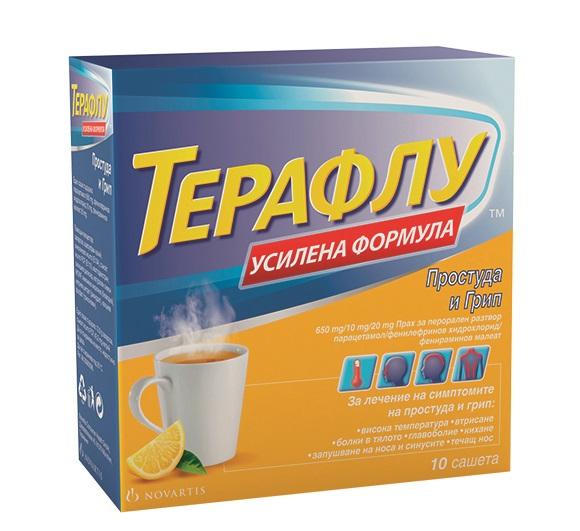 Описание    ТЕРАФЛУ / THERAFLU сашета при грип и простуда на Novartis съдържа няколко съставки, които имат температуропонижаващ, болкоуспокояващ и отпушващ носа ефект. Особено подходящ е при грипни и простудни състояния. ТЕРАФЛУ е предназначен за краткосрочно лечение на симптоми като - главоболие, втрисане, висока телесна температура, болки в стави и мускули, запушен нос, кихане и обилна назална секреция. Приема се разтворен във вода като топла напитка с приятен вкус на лимон.   Какво трябва да знаете, преди да използвате ТЕРАФЛУ   Не използвайте ТЕРАФЛУ: ако сте алергични към някоя от съставките; ако сте приемали моноаминооксидазен инхибитор (МАОИ) през последните две седмици (МАОИ включват лекарства, използвани за лечение на депресия, психични или емоционални състояния или болест на Паркинсон). Ако не сте сигурни дали предписаните ви лекарства съдържат МАОИ, консултирайте се с вашия лекар или фармацевт; ако приемате други лекарства, съдържащи парацетамол; имате белодробно заболяване (включително астма); страдате от недостиг на глюкозо-6-фосфат дехидрогеназа (G-6PD). Информирайте вашия лекар или фармацевт, защото ТЕРАФЛУ не е подходящ за Вас при тези обстоятелства.  Консултирайте се с вашия лекар, преди да използвате ТЕРАФЛУ, ако имате някои от следните здравословни проблеми:  Сърдечни болести, високо кръвно налягане, заболяване на щитовидната жлеза, диабет или глаукома; бъбречно заболяване; заболяване на черния дроб; епилепсия; трудно уриниране. Не използвайте лекарството в по-високи дози или по-дълго време от посоченото: ТЕРАФЛУ съдържа парацетамол, който може да увреди черния ви дроб, ако се употребява в дози, по-високи от препоръчаните, или за по-дълъг период. Съставката за отпушване на носа фенилефринов хидрохлорид, която се съдържа в ТЕРАФЛУ, може да предизвика фалшив положителен резултат от допинг-тестовете при спортисти.  Други лекарства и ТЕРАФЛУ   Информирайте вашия лекар или фармацевт, ако взимате или напоследък сте взимали други лекарства, включително и