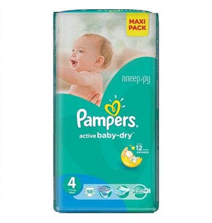 Описание наPampers Active Baby Dry 4 Мaxy пелени за бебета 7-14 кг x58 бр:     Пелени за еднократна употреба на марката ПАМПЕРС, с абсорбираща мекакато памук материя,сух горен слой за защита на нежната бебешка кожа, коитоя запазва суха в продължение на 12 часа и допълнителен слой за спокоен сън, който абсорбира течностите на правилните места. Сластични лентички и здрави лепенки за идеално прилягане към тялото.Размер 4- 58 броя в пакет.Препоръчителни са за бебета, с тегло 7-14 килограма.