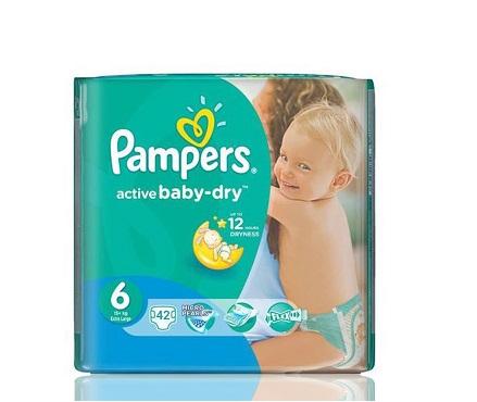 """Описание наPampers Active Baby Dry 6 Extra Large пелени за бебета 15+ кг x42 бр:     Пеленина марката ПАМПЕРС,с мекаматерия испециален нов релефен слой, който има способността да като изтегля влагата далеч от кожата ия запазва суха в продължение на 12 часа. Двойна защита и с допълнителен горенслой, който абсорбира течностите на правилните места. Със специални микропори, които пропускат свежия въздух в пелената и отвеждат влажния на вън, позволявайки на кожата да """"диша"""". Еластичните лентички следват всяко движение на вашето дете, доставяйки допълнителна защита от пропускане.Размер 6- 42броя в пакет.Препоръчителни са за деца, с тегло 15+ килограма."""