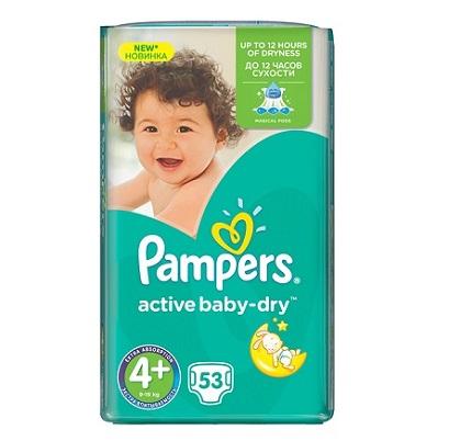 """Описание наPampers Active Baby Dry 4 Мaxy+ пелени за бебета 9-16 кг x53 бр:     Пелени за еднократна употреба на марката ПАМПЕРС, предназначени, за да предпазят бебешката кожа в продължение на 12 часа,със супер абсорбираща мекакато памук материя, специален нов релефен слой, който има способността да като изтегля влагата далеч от кожата. Допълнителният слой за спокоен сън, абсорбира течностите на правилните места, за да бъде нощният сън пълноценен и сух, а специалните микропори позволяват на кожата да """"диша"""". Еластичните лентички следват всяко движение на вашето дете, доставяйки допълнителна защита от пропускане.Размер 5- 53 броя в пакет.Препоръчителни са за деца, с тегло 9-16килограма."""