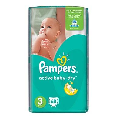 """Описание наPampers Active Baby Dry 3 Midi пелени за бебета 5-9 кг x68 бр:     Бебешки пелени за еднократна употреба на марката ПАМПЕРС с абсорбираща мекакато памук материя, специален нов релефен слой, който има способността да като изтегля влагата далеч от кожата на бебето и я запазва суха в продължение на 12 часа и допълнителен слой за спокоен сън, който абсорбира течностите на правилните места, за да може бебчето да спи спокойно през цялата. Меката като памук материя обгръща нежно кожата на бебето, създавайки трайно усещане за комфорт и сигурност. Със специални микропори, които пропускат свежия въздух в пелената и отвеждат влажния на вън, позволявайки на кожата да """"диша"""". Еластичните лентички следват всяко движение на вашето бебе, доставяйки допълнителна защита от пропускане.Размер 3- 68 броя в пакет.Препоръчителни са за бебета, с тегло 5-9килограма."""
