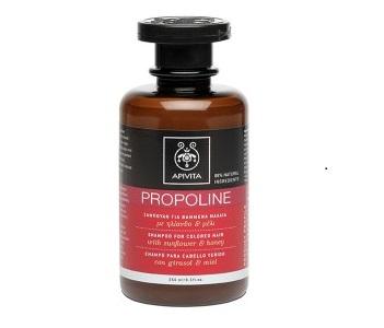 Описание  APIVITA PROPOLINE Shampoo for Colored Hair with sunflower and honey / АПИВИТА ПРОПОЛИН шампоан за боядисана коса със слънчоглед и мед поддържа цвета на косата, като същевременно я защитава щетите, причинени от стилизиращите продукти и я предпазва от UV лъчите и от неблагоприятните въздействия на околната среда. В същото време, той подобрява структурата на косъма и възвръща гладкостта. Също така шампоанът за боядисана коса на Апивита поддържа цвета на косата и я предпазва от слънчевата радиация и неблагоприятните въздействия на околната среда, благодарение на слънчогледа. Шампоанът за коса възстановява естествените еластичност и гладкост благодарение на меда. Осигурява овлажняващо и преструктуриращо действие благодарение на Етеричните масла от жасмин и лавандула. Предпазва косата и скалпа от вредните въздействия на околната среда, като поддържа баланса на био-флората на скалпа, благодарение на системата Bio Cotton(екстракт от памук + олигозахариди + аргинин).  Дерматологично тестван продукт.  Състав  Слънчоглед*, Мед*, Памук, Аргинин, Пантенол, Saponaria(Сапунче), Етерични масла от жасмин, лавандула*, Системата Bio Cotton Protection(памук+ олигозахариди+аргинин), Запарка от розмарин, вместо вода  Не съдържа парабени, силикон, Етаноламини, минерални масла, пропилен гликол, оцветители, фталати, нитро и поли мускуси Състав: Aqua** (Water**), Aqua (Water), Sodium Laureth Sulfate, Cocamidopropyl Betaine, Decyl Glucoside, Mel* (Honey*) Extract, Coco-Glucoside, Helianthus Annuus (Sunflower) Seed Extract, Gossypium Herbaceum (Cotton) Extract, Glycereth-2 Cocoate, Glyceryl Oleate, Panthenol, Saponaria Officinalis Leaf Extract, Acrylates/C10-30 Alkyl Acrylate Crosspolymer, Alpha-Glucan Oligosaccharide, Rosmarinus Officinalis (Rosemary) Leaf*, PEG-40 Hydrogenated Castor Oil, Arginine, Lavandula Angustifolia (Lavender) Oil*, Potassium Sorbate, Disodium EDTA, Tocopherol, Lactic Acid, Jasminum Officinale (Jasmine) Oil, Polyquaternium-10, Phenoxyethanol, Ethylhexylglyceri