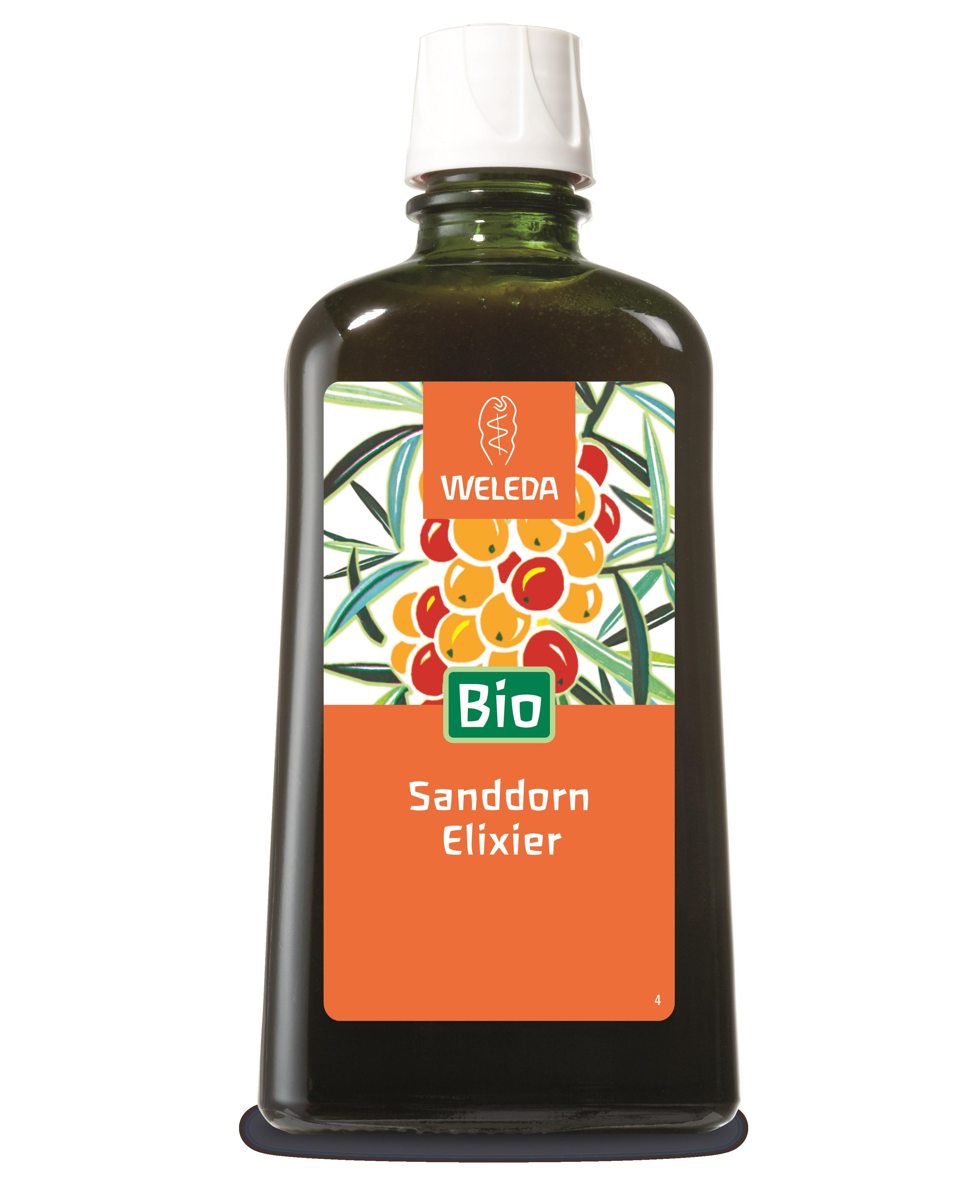 Описание наWELEDAЕликсир отОблепихаx200мл:   Този продукт с маркаВеледа е течен плодов екстракт за тонус, подходящ за поддържане на имунитета,по-бързото възстановяване при настинка, умора илинапрегнат начин на живот, също така за ученици, спортисти и пушачи.Той представлява вкусна напитка от облепиха, мед, захар и витамин C.Предлага се в удобна опаковка от 200мл.    Състав наWELEDAЕликсир отОблепихаx200мл: