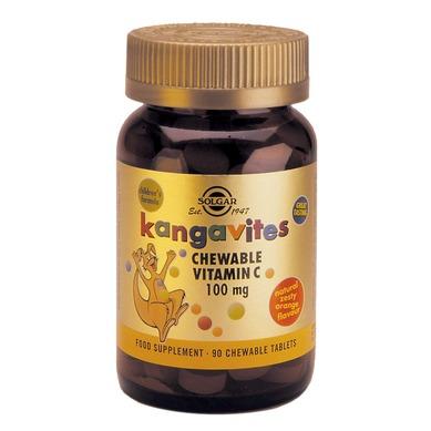 Описание наВитамин С за Дъвчене с Вкус на Портокал 100 мг х90 таблетки - SOLGAR:     Този продукт с марка СОЛГАР представлява хранителна добавка, съдържаща витамин С под формата на таблетки за дъвчене - Kangavites Chewable Vitamin C. Приемът му е необходим за нормалното функциониране на имунната система, здравето на кожата, зъбите и костите, синтезата на колаген. Има противовъзпалителен и антиалергичен ефект. Укрепва капилярите, участва в усвояването на желязо и фолиева киселина. Недостигът му води до заболяването скорбут. Продуктът е предназначен за деца над 3 години и е приятен вкус на портокал. Не съдържа захар, сол, изкуствени подобрители. Преди употреба от бременни, кърмачки и хора, приемащи други лекарства, се препоръчва консултация с лекар. Подходящ за вегетарианци.    СъставнаВитамин С за Дъвчене с Вкус на Портокал 100 мг х90 таблетки - SOLGAR:             1 таблетка съдържа:    Витамин С 100mg   Екстракт от дива череша на прах 11.5mg   Плодове от шипка на прах 4.3mg