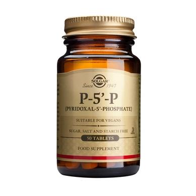 Описание наПиридоксал-5-Фосфат 50 мг х50 таблетки - SOLGAR:     Този продукт с марка SOLGAR представлява хранителна добавка, съдържаща коензимна форма на витамин В6, известен още и като P-5-P - Pyridocal-5-phosphate. Приемът му се препоръчва при състояния на недостиг на витамина или при повишени нужди от него. В организма той присъства като кофактор на редица ензими, участващи в метаболитни процеси. Необходим е за правилното развитие на нервната и имунната система, тонуса на стомашно-чревния тракт, състоянието на кожата и очите. Продуктът не съдържа захар, сол, изкуствени подобрители. Преди употреба от бременни, кърмачки и хора, приемащи други лекарства, се препоръчва консултация с лекар. Стомашно-устойчива обвивка. Подходящ за вегетарианци.    СъставнаПиридоксал-5-Фосфат 50 мг х50 таблетки - SOLGAR:             1 таблетка съдържа:    Пиридоксал-5-Фосфат 50mg