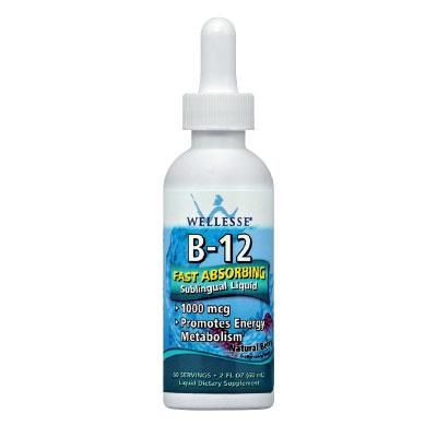 """Описание наWELLESSE Течен Витамин B12 капки 1000 мкг х60 мл:     Този продукт на американската марка WELLESSEпредставляватечна формула наВитамин В12за подезично приложение, коятодопринася за поддържане на нормалното състояние на нервната система, енергийния метаболизъм и сърдечната функция. Течната формула евисокоефикасна, лесна за прием и се абсорбира бързо от организма.Течният Витамин В12, като цианкобаламин, е с висока ефикасност и се усвоява напълно. Дефицитът му често води до злокачествена анемия.Тойучаства във формирането на червени кръвни клетки, поради което предотвратява развитието на анемия.""""Червеният витамин"""", е особено важен за поддържането на централната нервна система в нормално състояние, а недостигът муможе да предизвика преждевременна атеросклероза, мигрена, чести промени в настроението, раздразнителност и др. При отсъствието на В-12, главните компоненти на протеините, познати като аминокиселини, не могат да се използват правилно от тялото. Допълнителният прием на витамин В12, може да бъде от особено голяма полза при анемия, хронична умора, алкохолизъм, хепатит, цироза, кожни заболявания, множествена склероза и др. Витамин В12 увеличава енергията, поддържа нервната система, потиска раздразнимостта и увеличава вниманието и концентрацията. Също така, допринася за оползотворяването на мазнините, въглехидратите и протеините и намалява риска от развитие на анемия и подпомага организма при вече съществуваща такава. Продуктът не съдържаизкуствени аромати и оцветители, глутен,захар и алкохол. Има приятенаромат на горски плодове.     Състав наWELLESSE Течен Витамин B12 капки 1000 мкг х60 мл:       Съдържание в ½ капкомер /0,5ml  дн. доза (1 капкомер/1ml)    Витамин B12 25 µg 50µg        Други съставки:Пречистена вода, растителен глицерол Е422, еритритол E968, натурални аромати, лимонена киселина Е330, гума ксантан E415, калиев бензоат E212, целулозна гума 466, стевия (лист).   Запознайте се и с другите продуктиот категориятаХранителни добавки,а за да разглед"""