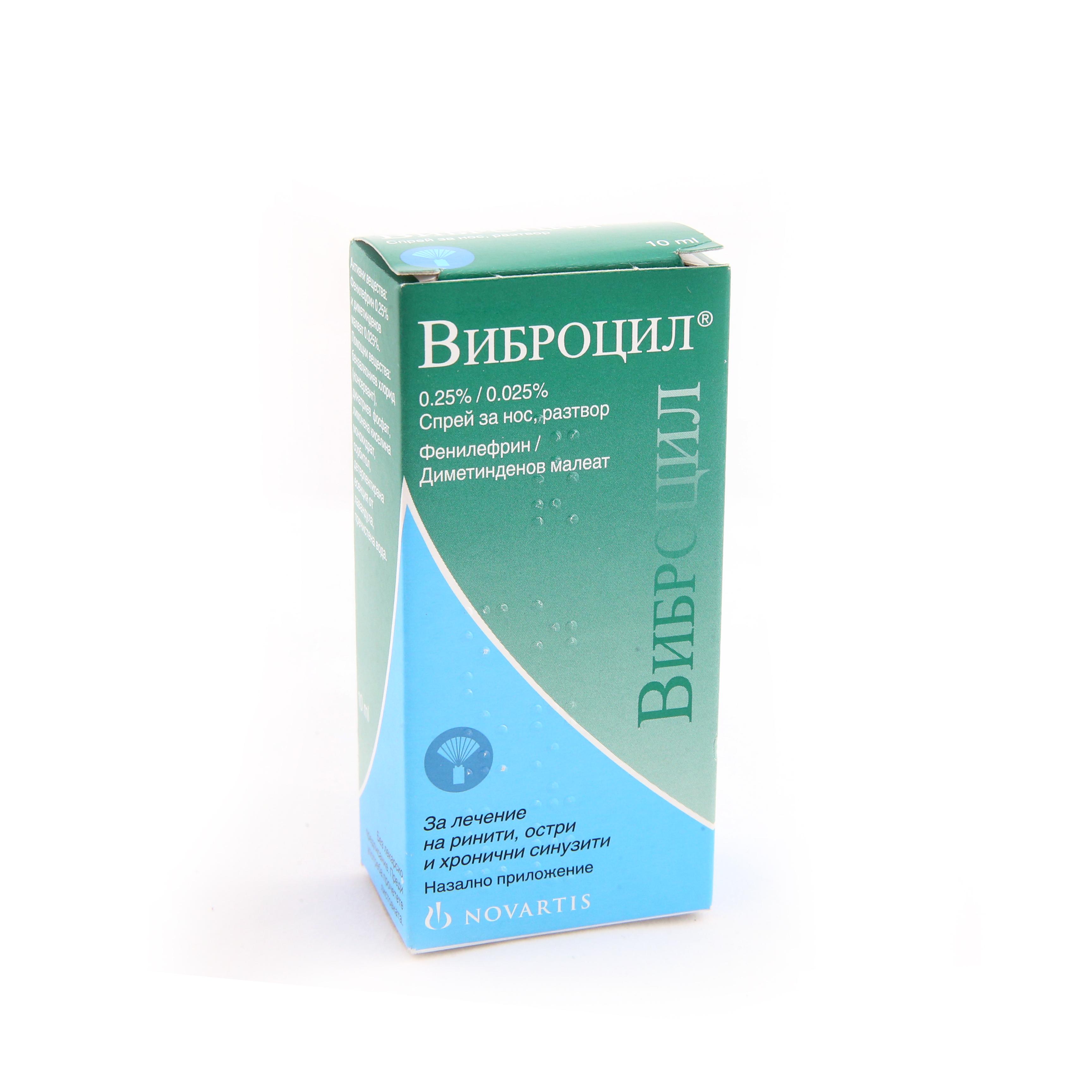 Какво представлява Виброцил и за какво се използва?   ВИБРОЦИЛ спрей за нос /VIBROCIL nasal spray на фармацевтичната компания Новартис се прилага при хрема от носа и за облекчаване на симптомите на запушения нос, предизвикани от широк кръг инфекциозни или алергични нарушения на горните дихателни пътища. Също така спреят за нос Виброцил  съдържа антихистамин и назален деконгестант. Той подпомага освобождаването на носните проходи, облекчавайки хремата и отока. Виброцил не променя активността на носните цилии. Виброцил се използва за облекчаване на конгестията в случай на простуда, остър и хроничен ринит, сенна хрема или друг алергичен ринит (алергия към домашен прах, животинска козина и др.), вазомоторни ринити и синуити. Виброцил се употребява като допълнителна терапия при лечение на възпаление на ушите.Виброцил може да ви бъде предписан от лекар за пре- и постоперативни грижи при хирургични интервенции на носа.Виброцил съдържа като активни съставки назален деконгестант (фенилефрин) и антихистамин (диметинден малеат). Виброцил спрей съдържа 0.25% фенилефрин и 0.025% диметинден малеат като активни съставки. Състои се също от бензалкониев хлорид (консервант), натриев фосфат, лимонена киселина, сорбитол, детерпентирана есенция от лавандула, пречистена вода.  Какво трябва да проверите, преди да използвате Виброцил?  Прочетете следната информация, преди да употребявате Виброцил.  Не използвайте Виброцил:  - ако сте алергичен към някоя от съставките;  - ако страдате от атрофичен ринит (заболяване на носната лигавица с хронично възпаление и образуване на крусти);  - ако вземате или сте вземали през последните 2 седмици лекарство по лекарско предписание, съдържащо моноаминооксидазен инхибитор (МАО инхибитори, които се използват за лечение на депресия и други психични заболявания). Консултирайте се с вашия лекар или фармацевт, преди да използвате Виброцил, ако не сте сигурни дали лекарството ви съдържа МАО инхибитор.   Какви предпазни мерки да вземете, преди да употребявате 