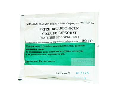 Описание на Натриев Бикарбонат Саше х100 грама - Химакс:  Това е продукт наХимакс Фарма, койтокоригира метаболитната ацидоза. Използвайте при отравяния със слаби органични киселини като барбитурати или ацетилсалицилова киселина. Алкализира урината при хемолиза.   Състав на Натриев Бикарбонат Саше х100 грама - Химакс:  Натриев бикарбонат