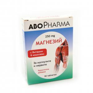 МАГНЕЗИЙ 250 мг + В комплекс / MAGNESIUM 250 mg + B complex таблетки x 30 таб- Abopharma
