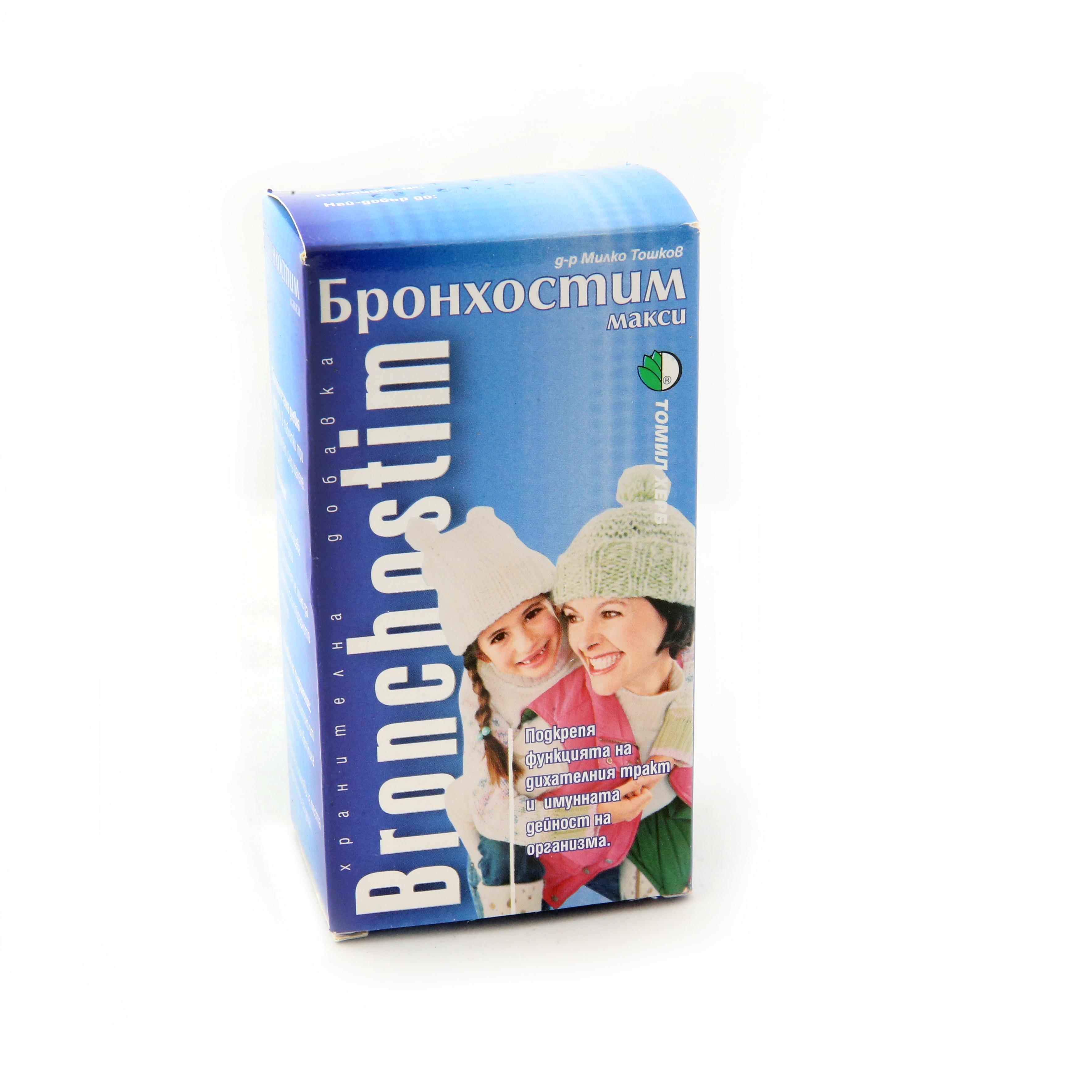 Описание  БРОНХОСТИМ МАКСИ / BRONCHOSTIM MAXI добавка към храната на Tomil Herb , която се препоръчва за успокояване на кашлицата и улесняване на отхрачването на бронхиалния секрет. Също така Бронхостим макси се използва при всички възпаления на дихателната система: фарингит, пневмонии, бронхити, ангини и простуди и повишава защитата на организма срещу вирусни и бактериални инфекции. Ефикасно средство против грип.  ДЕЙСТВИЕ:  Бронхостим макси е билков продукт,за укрепване на имунната защита на организма.  Приемането на Бронхостим макси предпазва организма от вирусни, грипни и бактериални инфекции.Приемът му е подходящ при всички възпаления на синусите, гърлото и белите дробове.  Състав:  БРОНХОСТИМ МАКСИ съдържа:Подбел, живовлек, борови връхчета, слез, ветрогон, бял оман, анасон, босилек, мащерка, бъз, драка, мента, жълт кантарион, риган, сладък корен, лайка, липа, джинджифил, волски език, евкалипт, иглика, лопен, ехинацея.