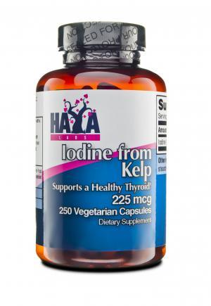 Haya Labs Iodine from Kelp 225mcg / Хая Лабс Йод от Кафяви Морски Водорасли 225мкг х250 вегетариански капсули