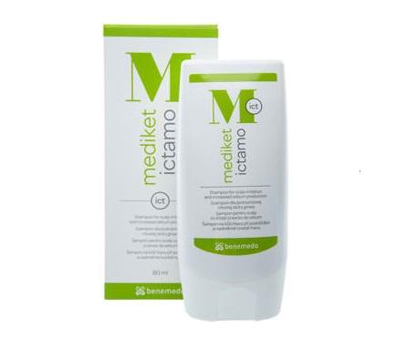 """Описание  Медикет Иктамо шампоан за проблемен скалп / Mediket Ictamo shampoo for the care of problematic scalp на швейцарската компания за висококачествена козметика Бенемедо е дерматологичен шампоан за  проблемен скалп -раздразнен, със сърбеж и прекомерно производство на себум, който съдържа  Ихтиол и Цинк Пиритион. Ихтиолът е с себорегулаторно, противъзпалително и антибактериално действие. Цинк пиритиона ефикасно намалява разпространието на дрождите Malassezia, които причиняват на пърхот. Mediket Ictamo ефикасно почиства и успокоява скалпа.Запознайте се и с  останалите продукти в категорията Проблемен скалп, които apteka.mall24.bg предлага на Вашето внимание! Ще се радваме да споделите вашите мнения с нас, както и да се запознаете със статиите на актуални здравни теми в секцията """"Полезно"""". Регистрирайте се в нашата онлайн аптека и ще може да получавате седмичния ни бюлетин с актуални за сезона предложения, промоции и нови продукти на супер атрактивни цени. Farmа.bg Ви предлага консултация с квалифициран магистър-фармацевт, който може да ви насочи към продуктите, с които да постигнете желания ефект. Не се колебайте да му пишете чрез лайв чата вдясно всеки делничен ден от 09:00 до 18:00 часа, както и да оставите запитване по всяко едно време от денонощието."""