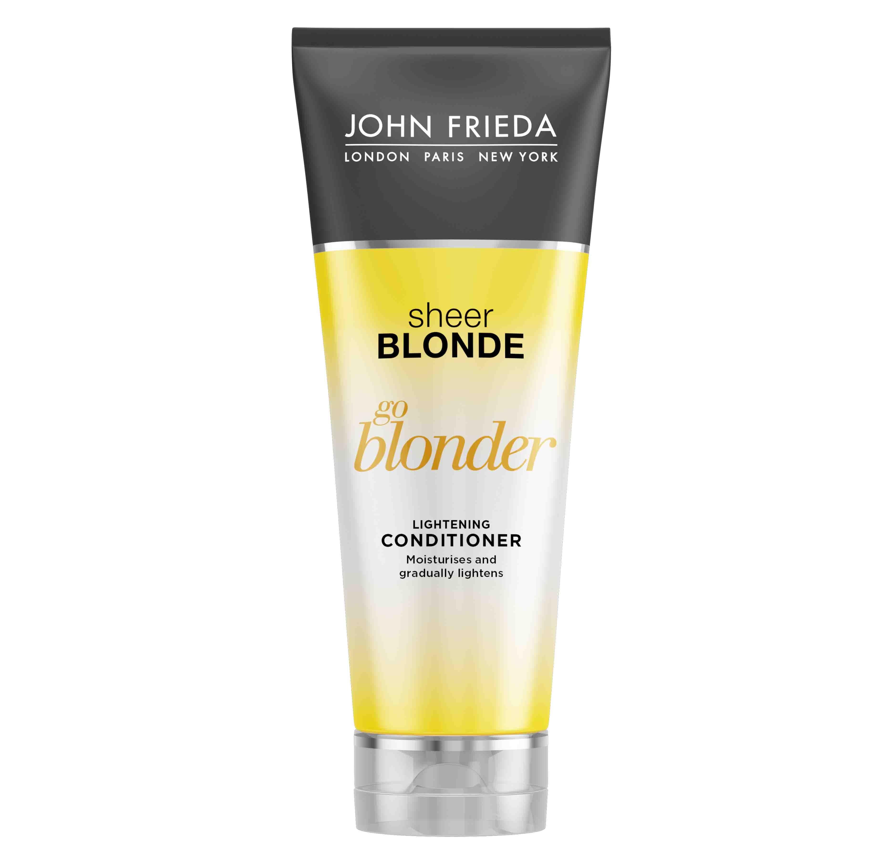 Описание наJOHN FRIEDASheer BlondeИзсветляващ Балсамза Руса Косаx250мл:   Продуктът с маркаДжон Фрида е балсамза изсветляване на русакосаот серияSheer Blonde, подходящ е за естествено руса, на кичури или боядисана коса.Формула богата на цитрус и лайка, която съдържа комплекс за изсветляванезадо два тона по-светла косата.Не съдържа амоняк и пероксид. Предлага се в удобна опаковка от 250мл.    Състав наJOHN FRIEDASheer BlondeИзсветляващ Балсамза Руса Косаx250мл: