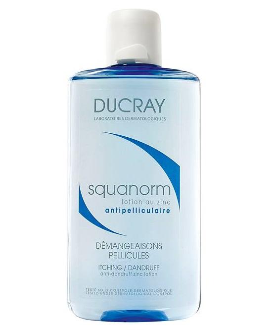 Описание наDucray Squanorm Противопърхотен лосион с цинк х200 мл:     Този продукт смарка Ducray е лосион за допълваща грижа при пърхот. Той съдържа комбинацията от съставки -Келуамиди, срещу сух и мазен пърхот иЦинков сулфат, който се грижи за премахването на сърбежа и спомага за намаляване на зачервяването. Лосионът е подходяща ежедневна грижа, коятодопълваефекта отшампоаните противпърхот, като успокоява сърбежа и оздравява скалпа. Без мазен ефект.Предлага се в удобна опаковка от 200 мл.     Състав наDucray Squanorm Противопърхотен лосион с цинк х200 мл:     Съдържа Келуамид, който спомага за премахване на пърхота и за дълготрайното поддържане на кожата на скалпа в добро състояние. Цинков сулфат е съставка с успокояващи свойства.