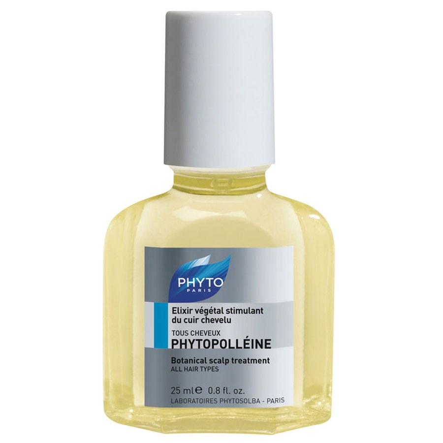 Описание наPHYTO PHYTOPOLLEINE Растителен Стимулант за Скалпа х25 мл:     Продуктът с марка Фито представлявастимулант за скалп, който е базиран на100% растителна формула за стимулиране на скалпа. PHYTO PHYTOPOLLEINE е подходящ при суха или много суха кожа на скалпа, пърхот, тънка ибезжизнена коса. Продуктът тонизира капилярите на главата и космените лукувици, пречиства скалпа и балансира себумната секреция.    Състав наPHYTO PHYTOPOLLEINE Растителен Стимулант за Скалпа х25 мл:     Съдържа: 72% етерични масла от розмарин, кипарис, евкалипт и лимон; 28% масло от пшеничен зародиш.