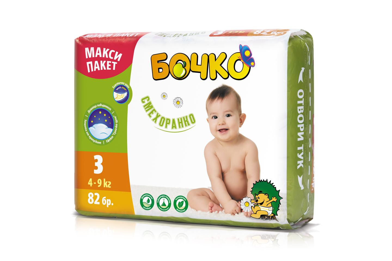 """Описание  Бочко бебешки пелени """"Смехоранко"""", са пелени за еднократна употреба. Размер 3 - 82 броя в макси пакет Препоръчваме ги за бебета, с тегло между 4 и 9 килограма, на възраст 3-8 месеца. За да се усмихваме повече и по-често.  Бебешките пелени БОЧКО са произведени от меки и нежни хипоалергенни материи, които осигуряват комфорт на бебето. Вложеният суперабсорбент попива бързо и задържа течностите вътре в пелената. Областта около крачетата е допълнително защитена от пропускане, за да може бебето да бъде сухо и доволно през целия ден и цялата нощ. Благодарение на дишащата си повърхност, пелените БОЧКО предпазват деликатната кожа на бебето от запарване. Еластичните уши позволяват многократно залепване и отлепване. Веселият дизайн на пелената ще внесе още усмивки в слънчевото ежедневие.  Пелените БОЧКО са тествани дерматологично и лабораторно от независим контрол. Не съдържат оптични избелители, парфюм, фталати, лосион, латекс и талк."""