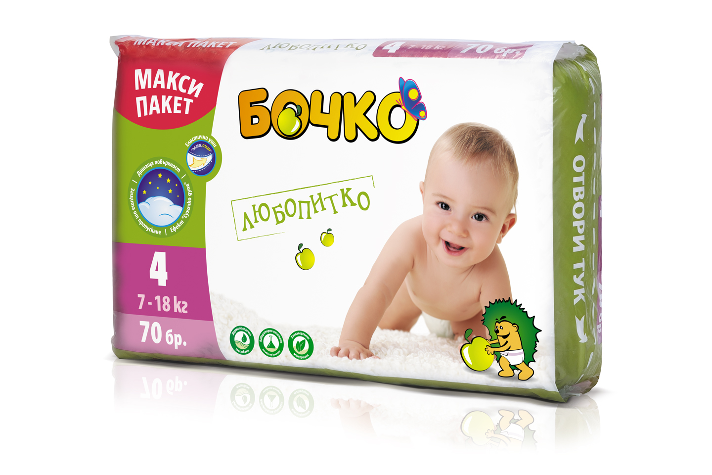 Описание  Бочко бебешки пелени Любопитко, са пелени са еднократна употреба. Размер 4 - 70 броя в макси пакет. Препоръчителни са за бебета, с тегло 7-18 килограма, на възраст над 4 месеца. За да насърчаваме развитието във всяко отношение.Бебешките пелени БОЧКО са произведени от меки и нежни хипоалергенни материи, които осигуряват комфорт на бебето. Вложеният суперабсорбент попива бързо и задържа течностите вътре в пелената. Областта около крачетата е допълнително защитена от пропускане, за да може бебето да бъде сухо и доволно през целия ден и цялата нощ. Благодарение на дишащата си повърхност, пелените БОЧКО предпазват деликатната кожа на бебето от запарване. Еластичните уши позволяват многократно залепване и отлепване. Веселият дизайн на пелената ще внесе още усмивки в слънчевото ежедневие. Пелените БОЧКО са тествани дерматологично и лабораторно от независим контрол. Не съдържат оптични избелители, парфюм, фталати, лосион, латекс и талк.