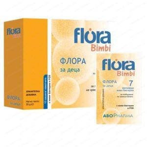Флора Бимби Пробиотик за деца със 7млрд живи бактерии / Flora Bimbi Probiotics for Kids х10 сашета – Abopharma