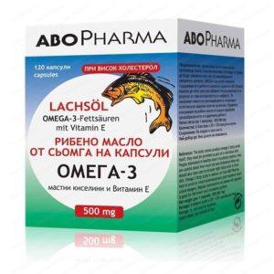 Рибено масло от сьомга с Омега 3 мастни киселини и Витамин Е / Salmon Oil with Omega 3 Fatty Acids + Vitamin E 500 мг x120 капсули – AboPharma