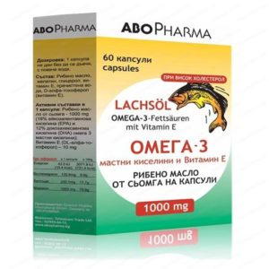 Рибено масло от сьомга с Омега 3 мастни киселини и Витамин Е / Salmon Oil with Omega 3 Fatty Acids + Vitamin E 1000 мг x60 капсули – AboPharma