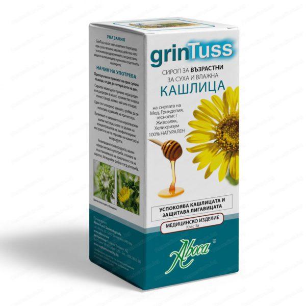 Онлайн аптека Remedium.bg предлага Grintuss Adult Cough Syrup / Гринтус Сироп за Възрастни за суха и влажна кашлица х210 грама - Aboca. Професионална консултация с магистър-фармацевт и безплатна доставка на всички поръчки над 40 лева до 1кг.