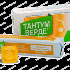 Тантум Верде с Вкус на Портокал и Мед при Възпалено Гърло и Болки в Устната кухина 3мг x20 таблетки за смучене