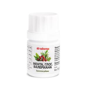 Мента, Глог, Валериана / Peppermint, Hawthorn, Valerian х60 таблетки – Aro Life