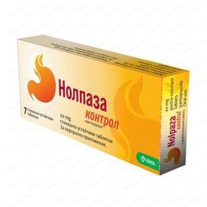 KRKA Нолпаза Контрол за намаляване киселинността в стомаха 20 мг х7 таблетки