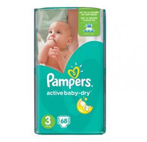 Pampers Active Baby Dry 3 Midi пелени за бебета 5-9 кг x68 бр